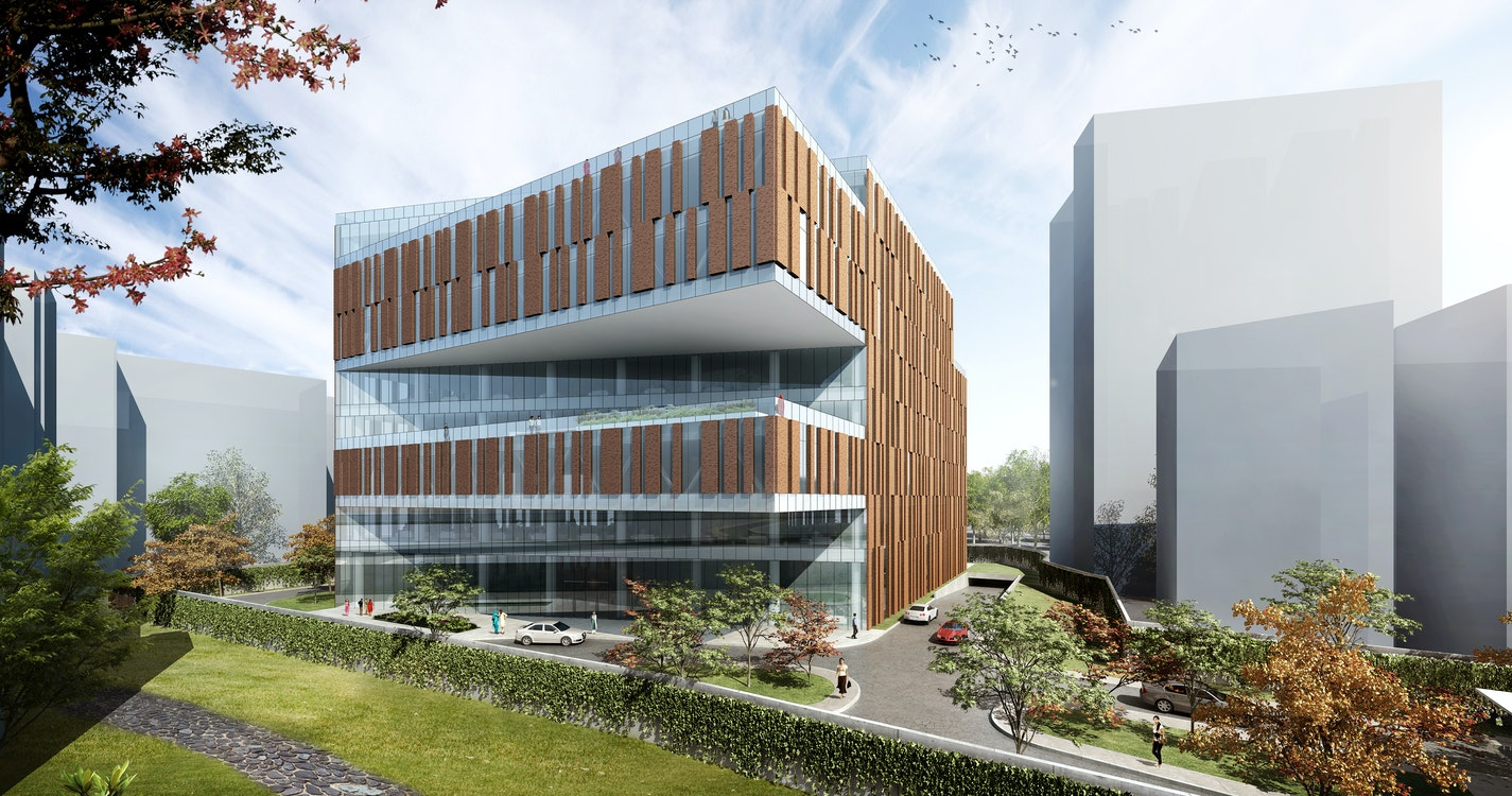 Combining integrated vertical research in an office campus section