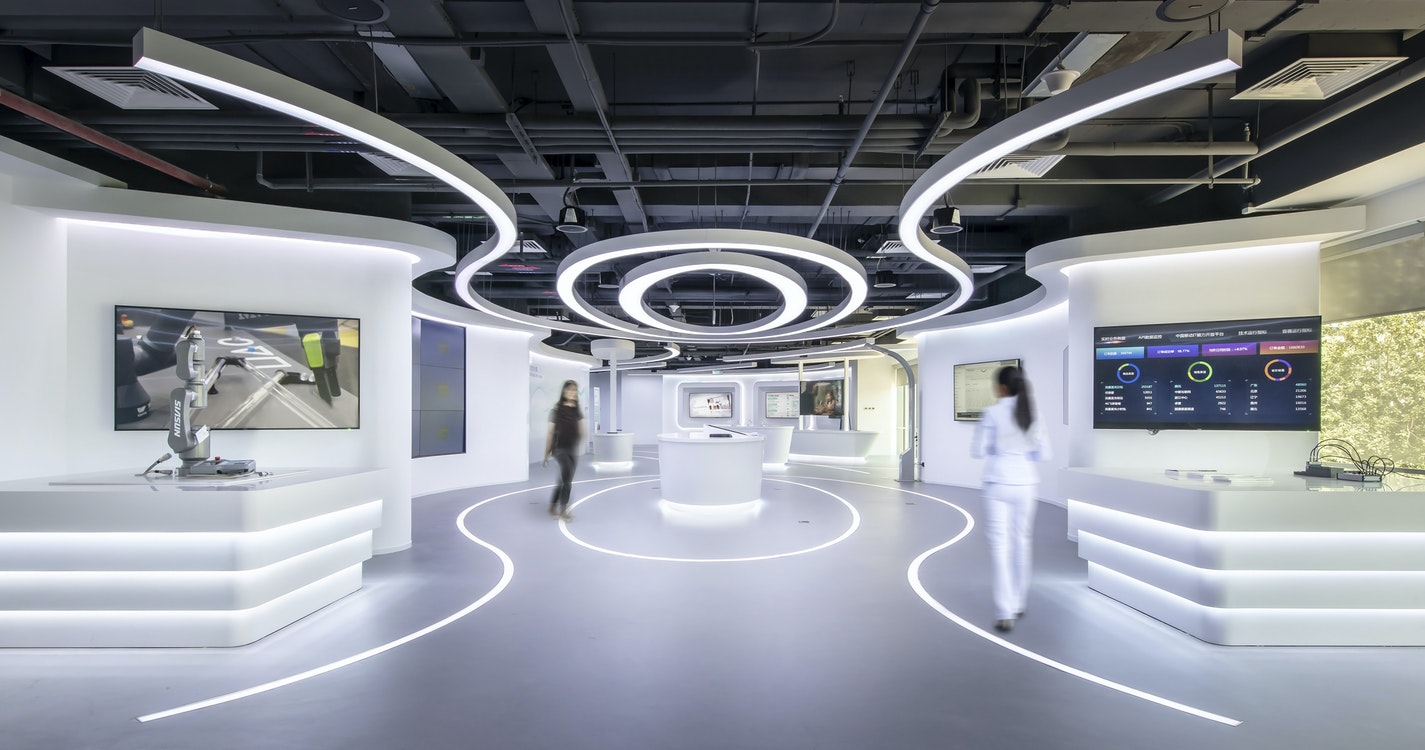 A space envisioning the future to showcase advanced technology section