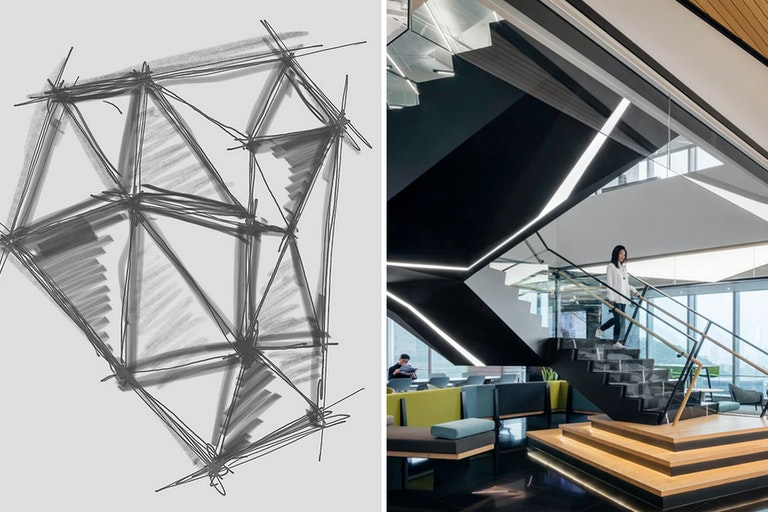 """Sketch (left) that inspired the design of AllianceBernstein's workplace design (right), """"demonstrating the connectivity of spaces and elements within to create a cohesivelanguage."""""""