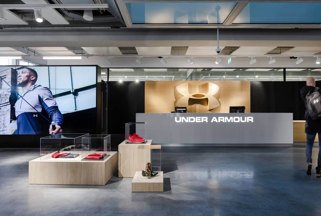 Under Armour Amsterdam office branded reception space