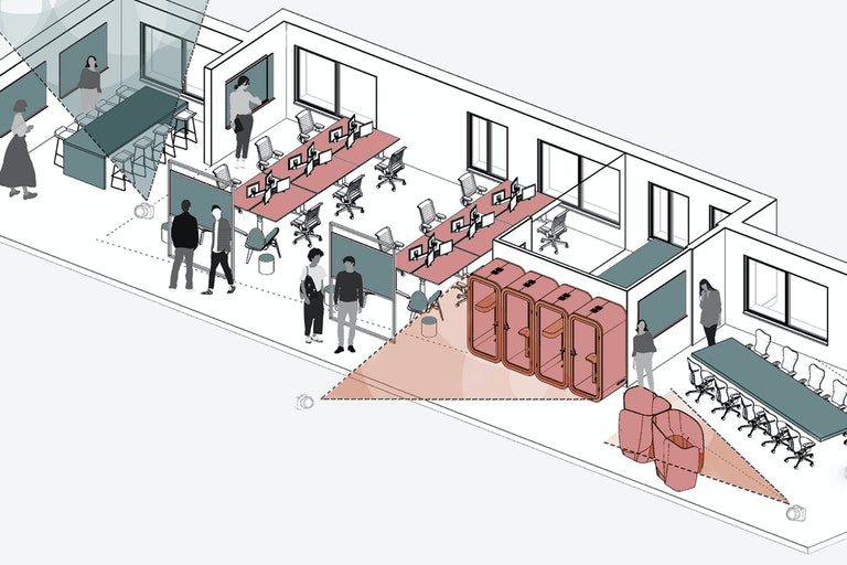 Collaboration spaces (blue) adjacent to focus spaces (red) to support quick transition between different kinds of working
