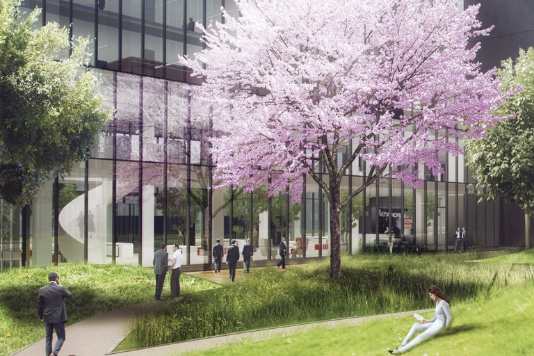 Campus – A central courtyard serves both the workplace community and the public offering a natural oasis within this urban complex. Integrated ground floor amenities and public transport are easily accessible. (Construction nearing completion – Lenovo Campus, Shanghai)