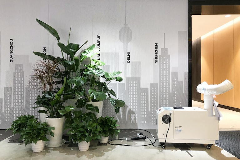 Using electrolysed-oxidising HCLO water to provide disinfection on entrance to M Moser Shanghai