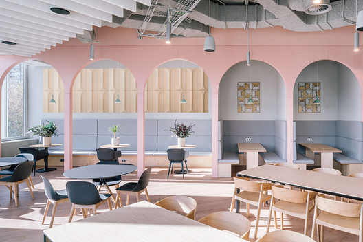"Longlisted in the ""Large workspace interior"" category of Dezeen Awards 2020 section"