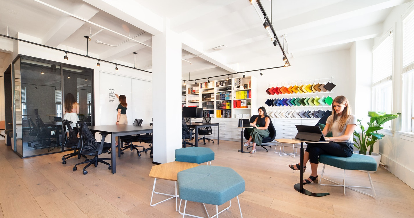 A blended workplace designed for a distributed workforce section