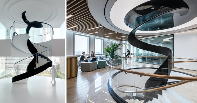 Models (left) of the staircase were created to optimise the design and construction process.