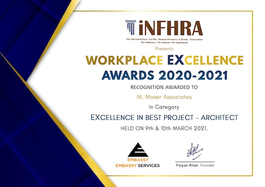 M Moser receives iNFHRA Workplace EXcellence Award 2020-2021 section