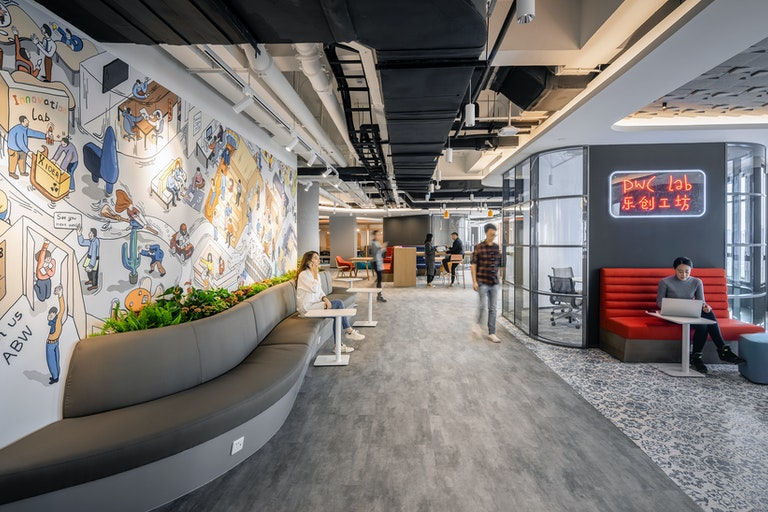 """Reflecting PwC's innovative spirit in an open, agile workplace called the """"PlayLab"""""""